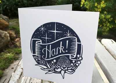HARK! – midnight blue on white