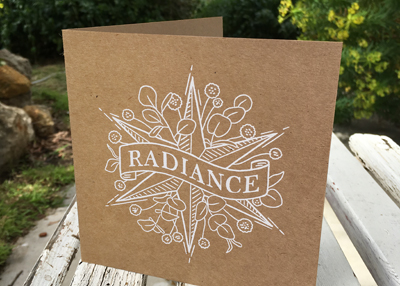 RADIANCE – white on brown